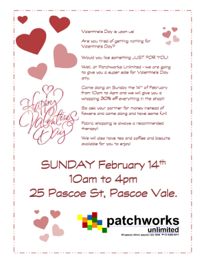 Valentine's Day 2016 Sale at Patchworks Unlimited