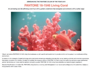 'Living Coral' Pantone's Colour of the Year for 2019